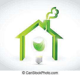 eco, maison, énergie, conception, illustration