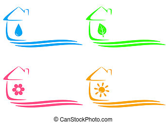 eco, maison, chauffage, icônes