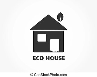 eco, maison, icon., amical