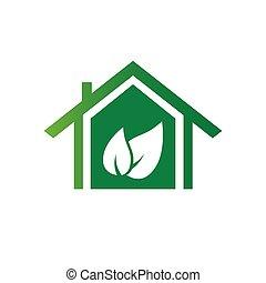 eco, maison, vecteur, vert