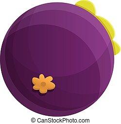 Eco mangosteen icon, cartoon style