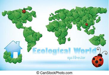 eco, mapa del mundo, de, hojas verdes