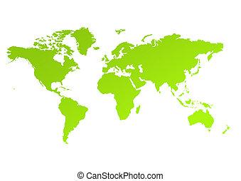 eco, mappa, verde, mondo