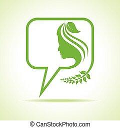 eco, meddelande, bubbla, kvinnor, ikon