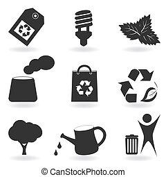 eco, meio ambiente, jogo, ícone
