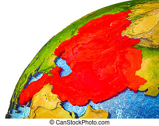 ECO member states on 3D Earth model with visible country ...