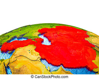 ECO member states on 3D Earth with visible countries and ...