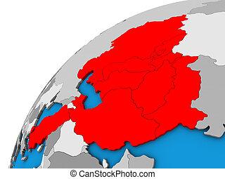 ECO member states on 3D globe. 3D illustration.