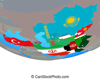 ECO member states with flags on globe - ECO member states ...