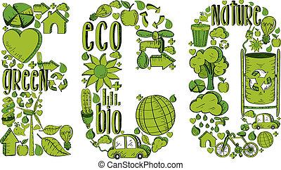 eco, miljöbetingad, ord, ikonen