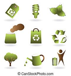 eco, miljø, sæt, ikon