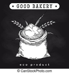 Eco mill product logo on chalkboard