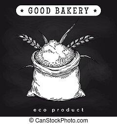 Eco mill product logo on chalkboard