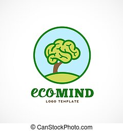 Eco Mind Abstract Vector Logo Template. Brain Tree Illustration with Typography.