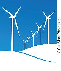 eco, moinhos vento, ilustração