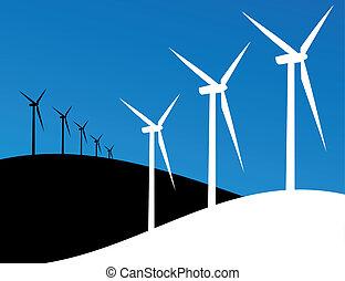 eco, molinos de viento, ilustración