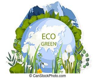 eco, montagnes, arbres, vert, composition, perce-neige, la ...