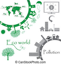 eco, mundo, ilustração