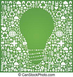 eco, mundo, verde, idéias, fundo