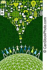eco, mundo, verde, pessoas