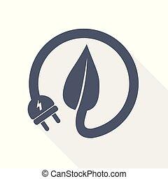 Eco natural electric plug icon, vector illustration