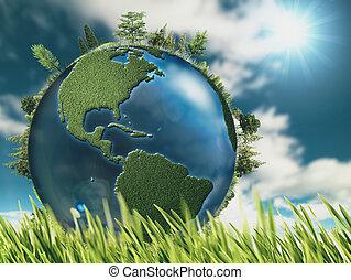 eco, natural, fundos, com, globo terra, e, grama verde