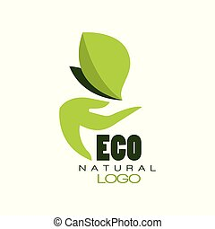 Eco natural logo, healthy organic food label, emblem for cafe, packaging, restaurant, farm products vector Illustration on a white background