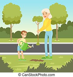 Eco nature background with mom and son planting a tree