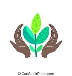 eco, nature., concept., manos, resumen, plant., ambiente, norteamericano, diseño, tenencia, africano, mundo, excepto, amistoso, día