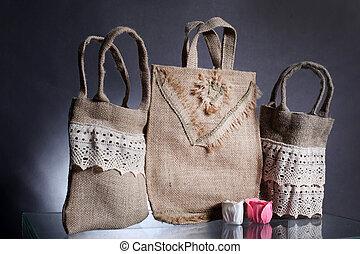 eco, naturel, sac, recyclé, sac, hessian, fait, dehors