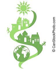 eco, naturlig, gemenskap, bakgrund