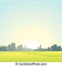 eco, nucléaire, amical, vecteur, plant., paysage