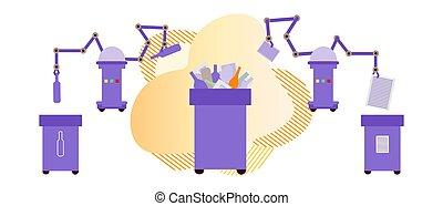 eco, odpadki, tracić, sortowanie, wektor, recycling, robot