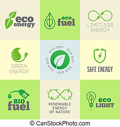 Eco or green energy concept vector icon set different signs