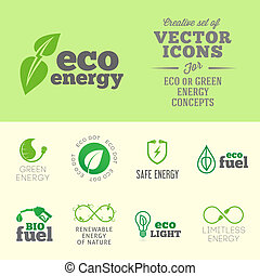 Eco or green energy concept vector icons set with typography