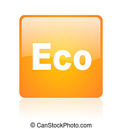 eco orange square glossy web icon