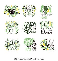 Eco, organic, bio, natural products set for label design. Healthy lifestyle, handmade products, organic food menu colorful vector Illustrations