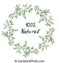 Eco organic floral frame for the label, banner or other...
