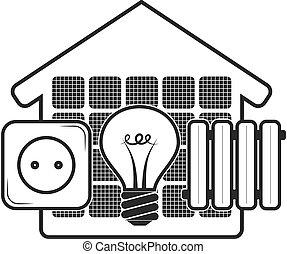 eco, otthon, energia, jelkép
