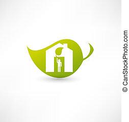 eco, otthon, zöld