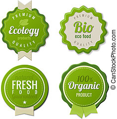 eco, ouderwetse , etiketten, bio, mal, set
