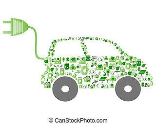 eco, padrão, ícone, carro verde