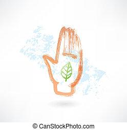 Eco palm grunge icon