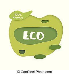 Eco paper cut banner. Vector illustration.
