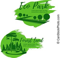 Eco park and green forest landscape icon set