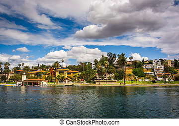 eco, parque, lago, en, los ángeles, california.