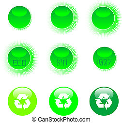 eco, pictogram, set, groene
