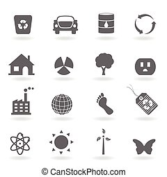 eco, pictogram, set