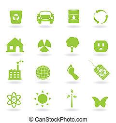 eco, pictogram, set
