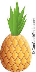 Eco pineapple icon, cartoon style